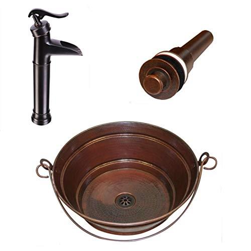 """Round Copper Vessel 15"""" BUCKET Sink"""